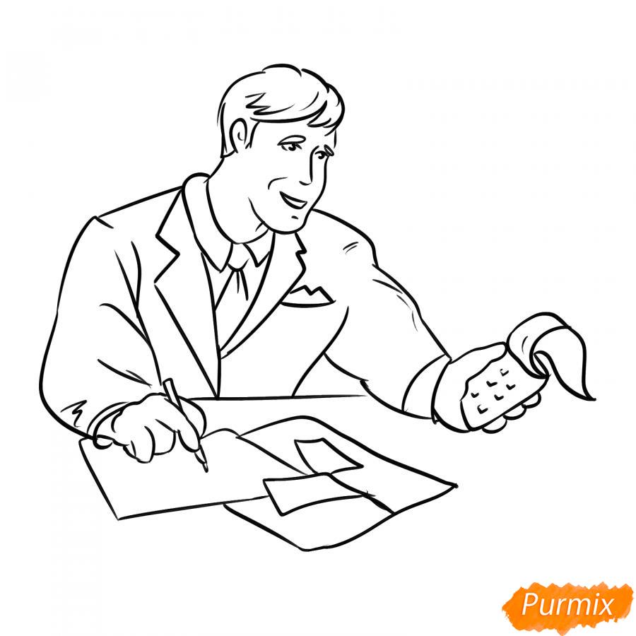 Рисуем мужчину бухгалтера - шаг 5
