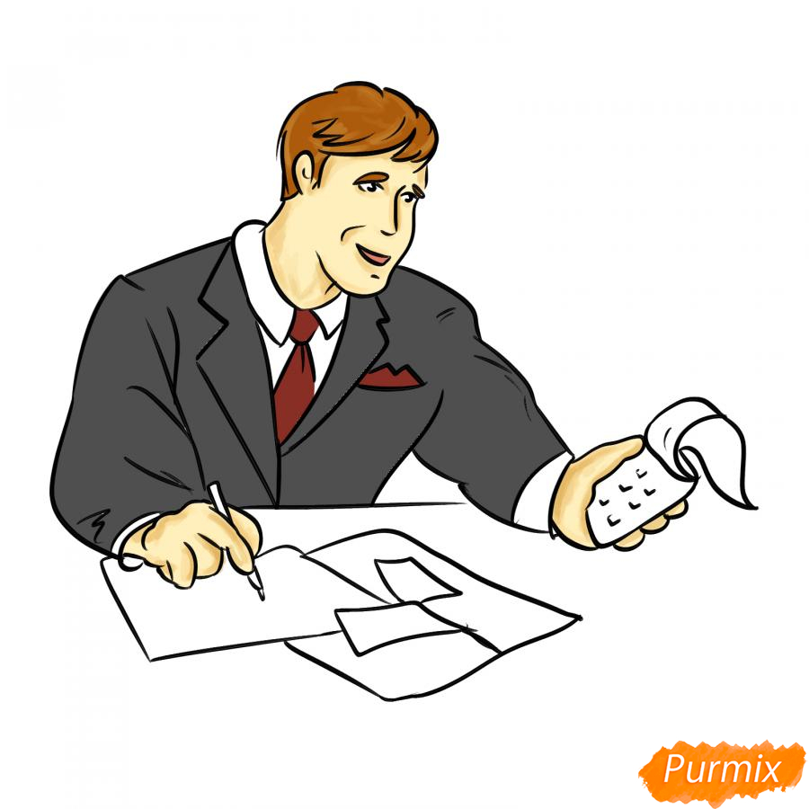 Рисуем мужчину бухгалтера - шаг 7