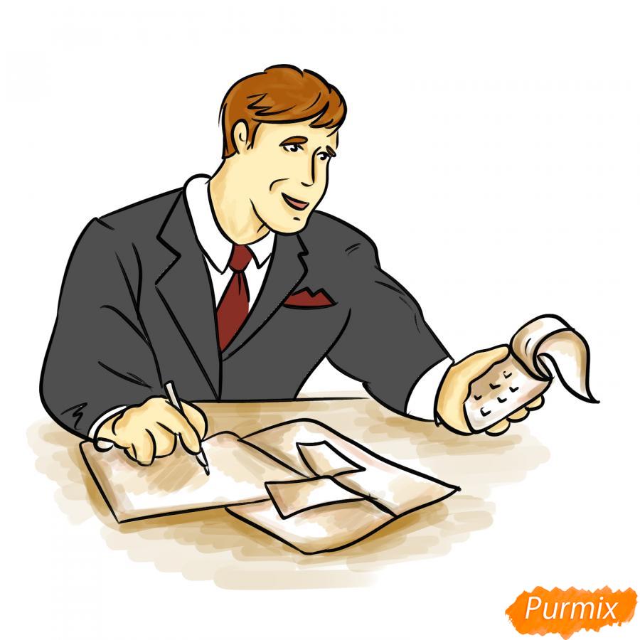 Рисуем мужчину бухгалтера - шаг 8