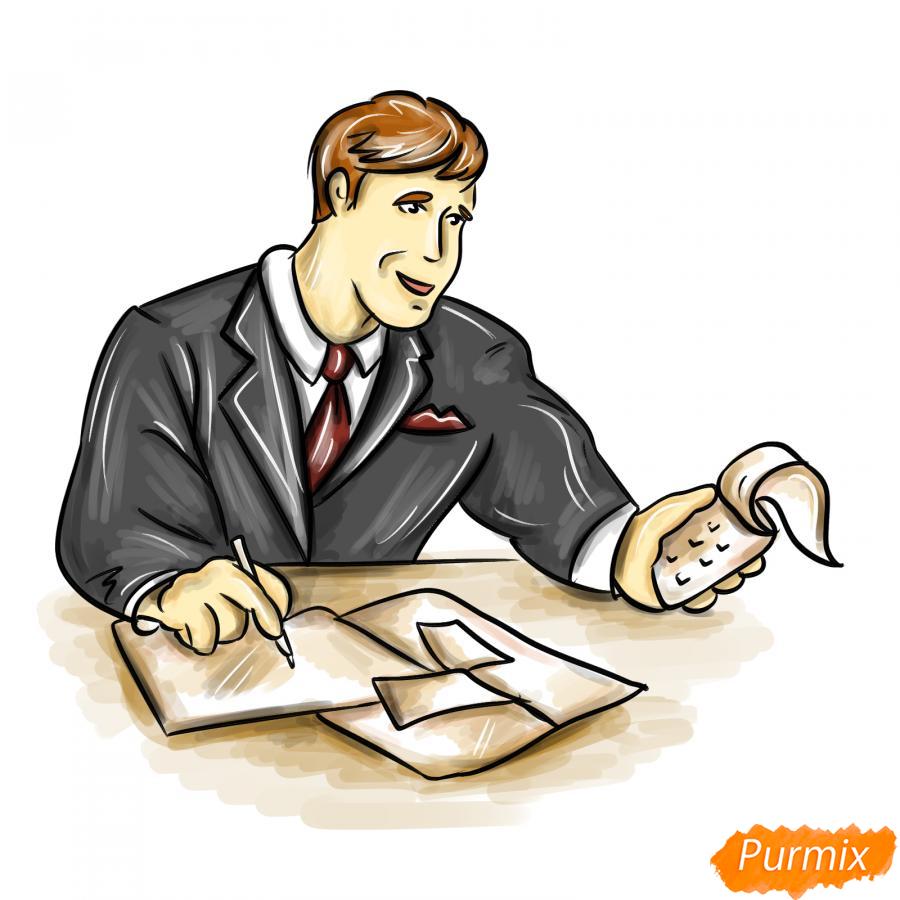 Рисуем мужчину бухгалтера - шаг 9