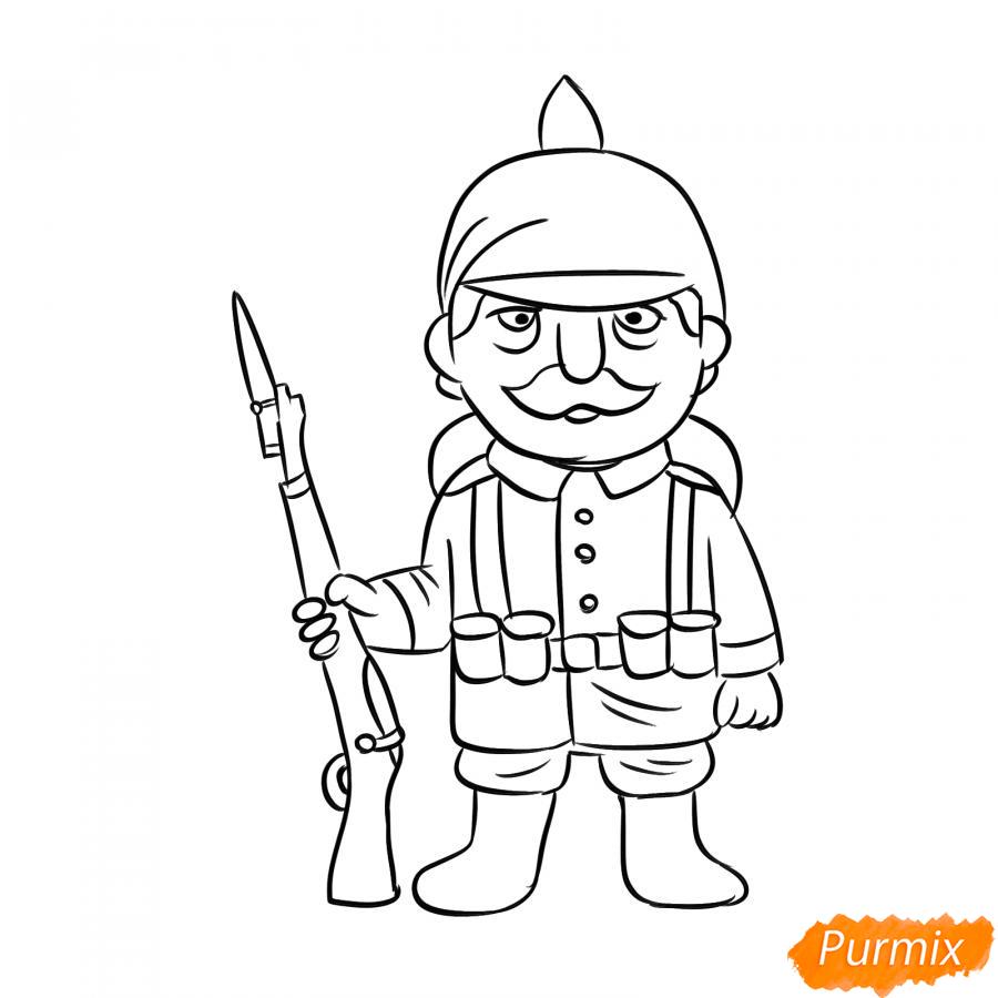 Рисуем немецкого солдата - шаг 6