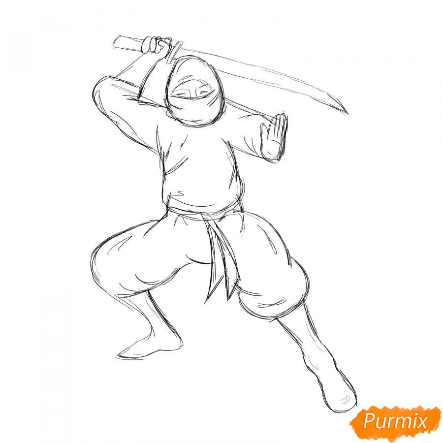 Рисуем ниндзя - шаг 4