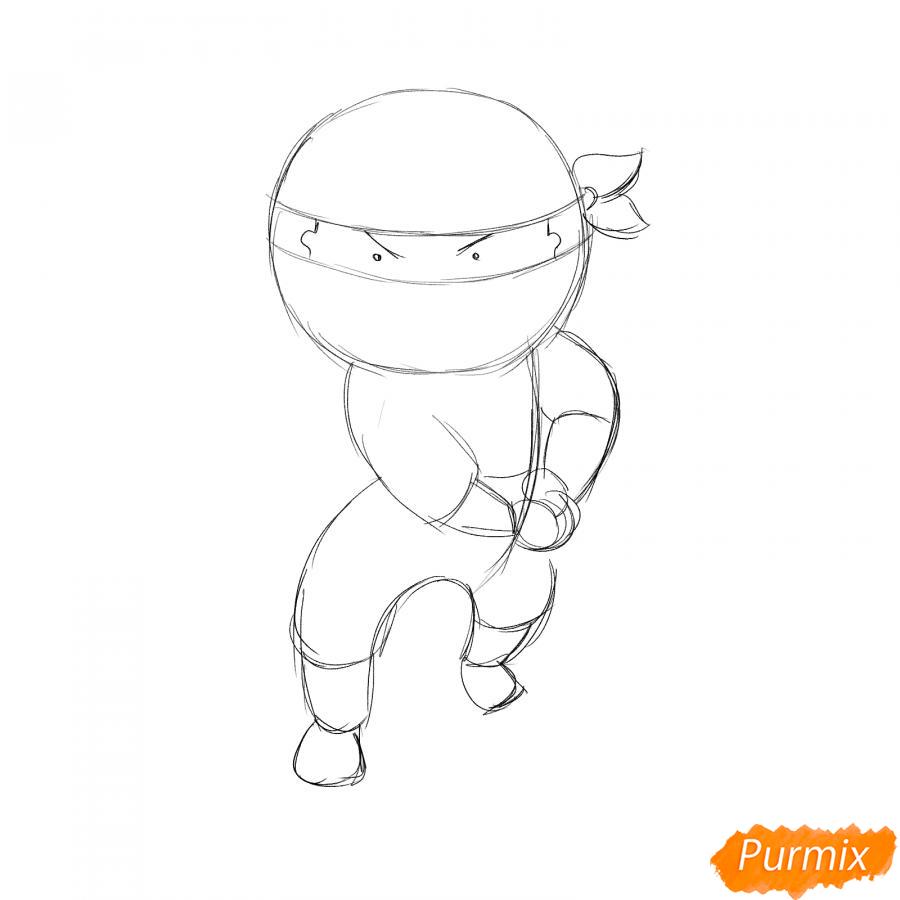 Рисуем ниндзя с мечом - шаг 3