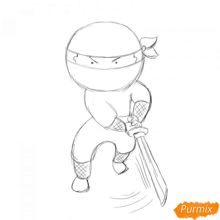 Рисуем ниндзя с мечом - шаг 4
