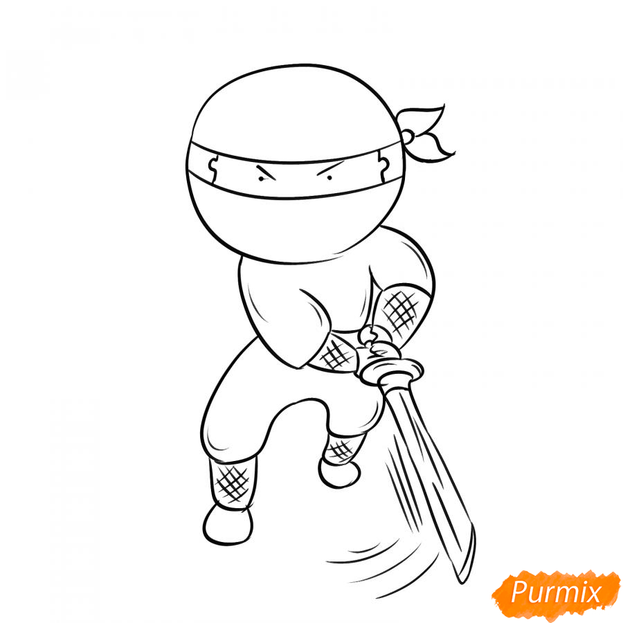 Рисуем ниндзя с мечом - шаг 5