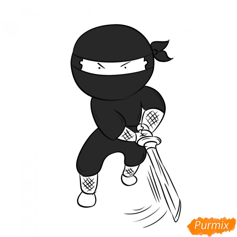 Рисуем ниндзя с мечом - шаг 6