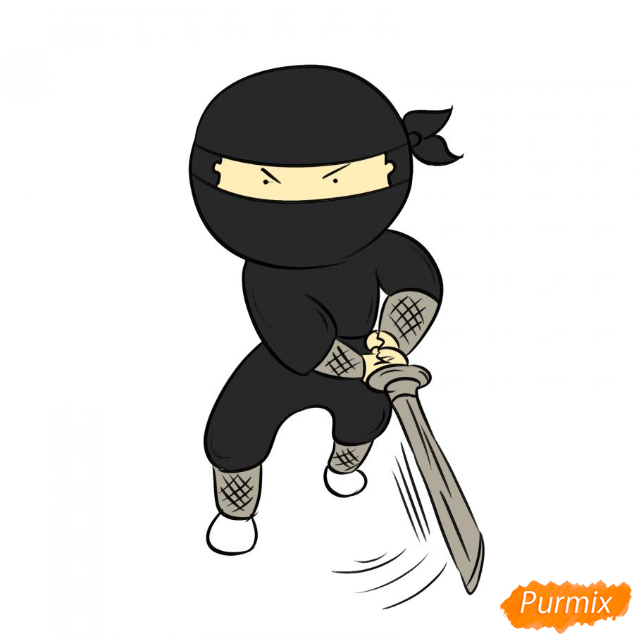 Рисуем ниндзя с мечом - шаг 7