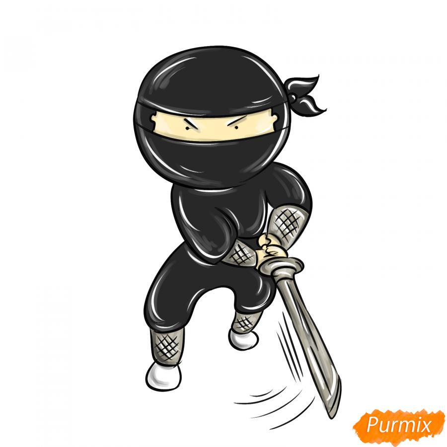 Рисуем ниндзя с мечом - шаг 8