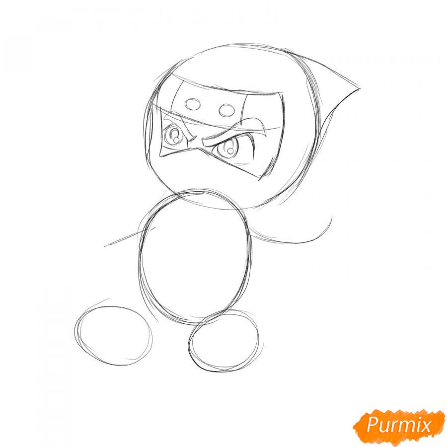 Рисуем ниндзя с сюрикенами - шаг 2