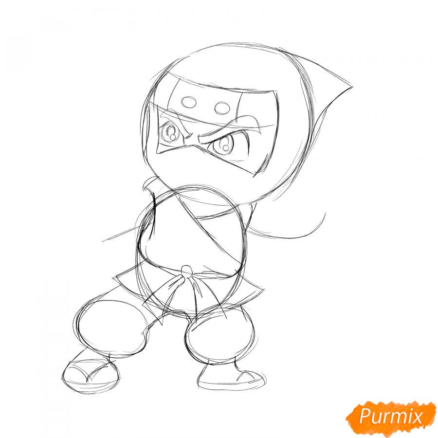 Рисуем ниндзя с сюрикенами - шаг 3