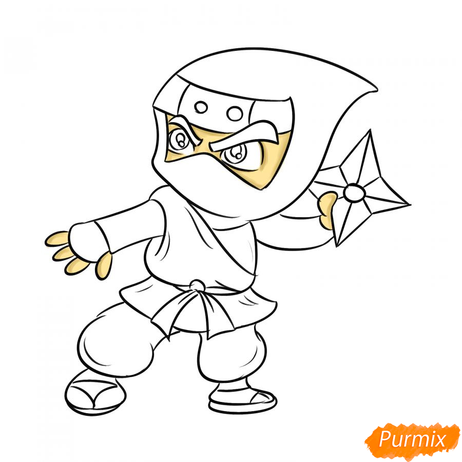 Рисуем ниндзя с сюрикенами - шаг 6