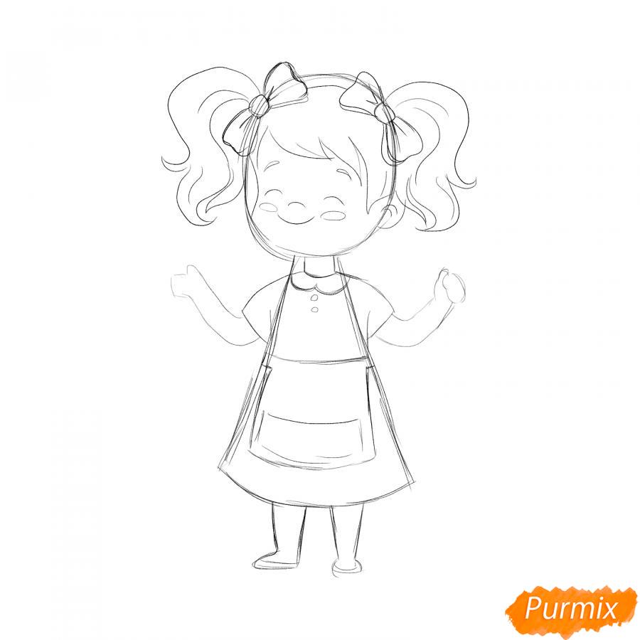 Рисуем парикмахера девочку для детей - шаг 4