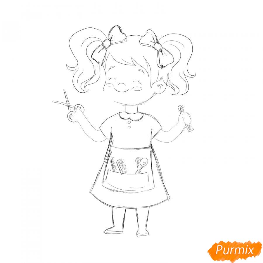 Рисуем парикмахера девочку для детей - шаг 5