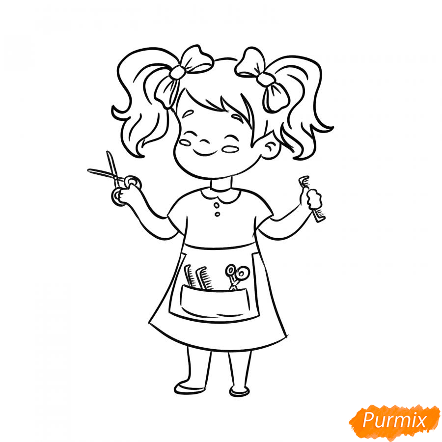 Рисуем парикмахера девочку для детей - шаг 6