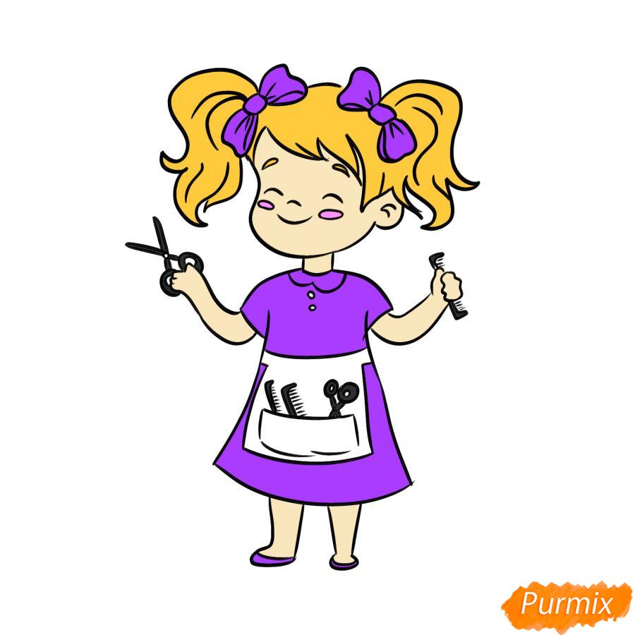 Рисуем парикмахера девочку для детей - шаг 7