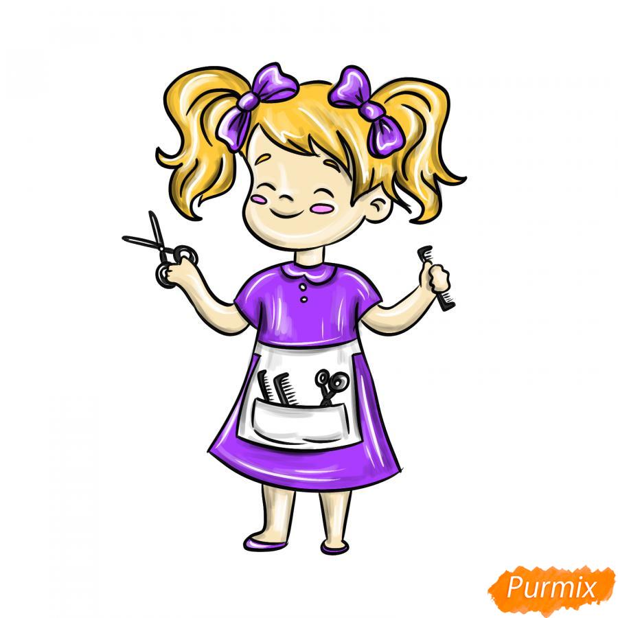 Рисуем парикмахера девочку для детей - шаг 8