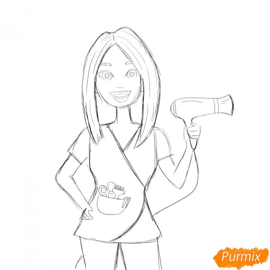 Рисуем парикмахера карандашами - шаг 4