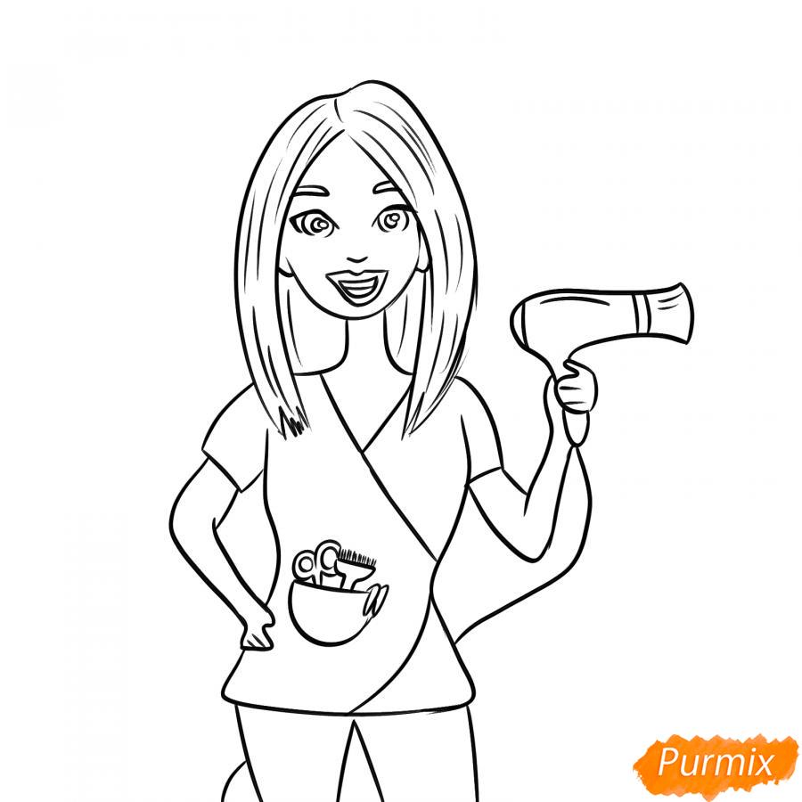 Рисуем парикмахера карандашами - шаг 5