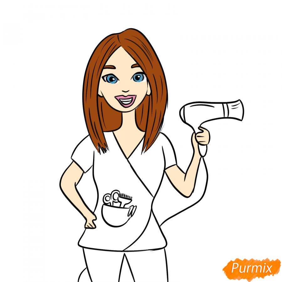 Рисуем парикмахера карандашами - шаг 6