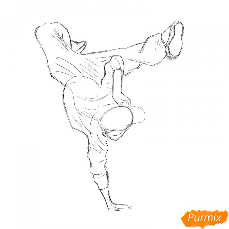 Рисуем парня танцующего брейк-данс - шаг 4