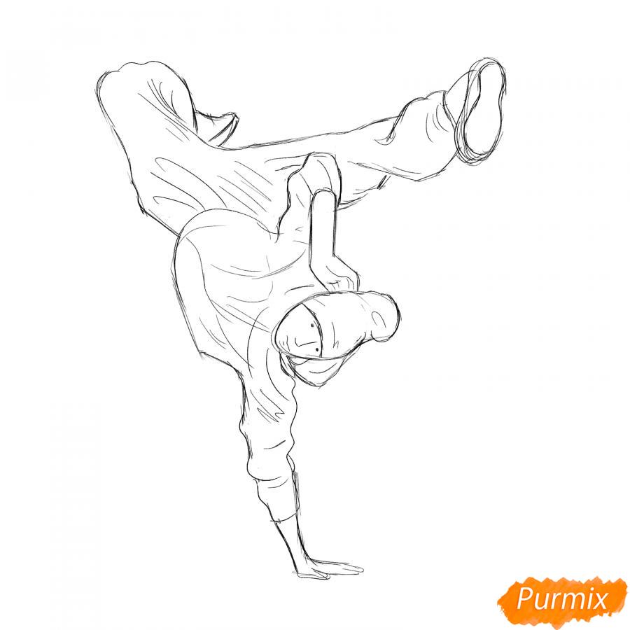 Рисуем парня танцующего брейк-данс - шаг 5