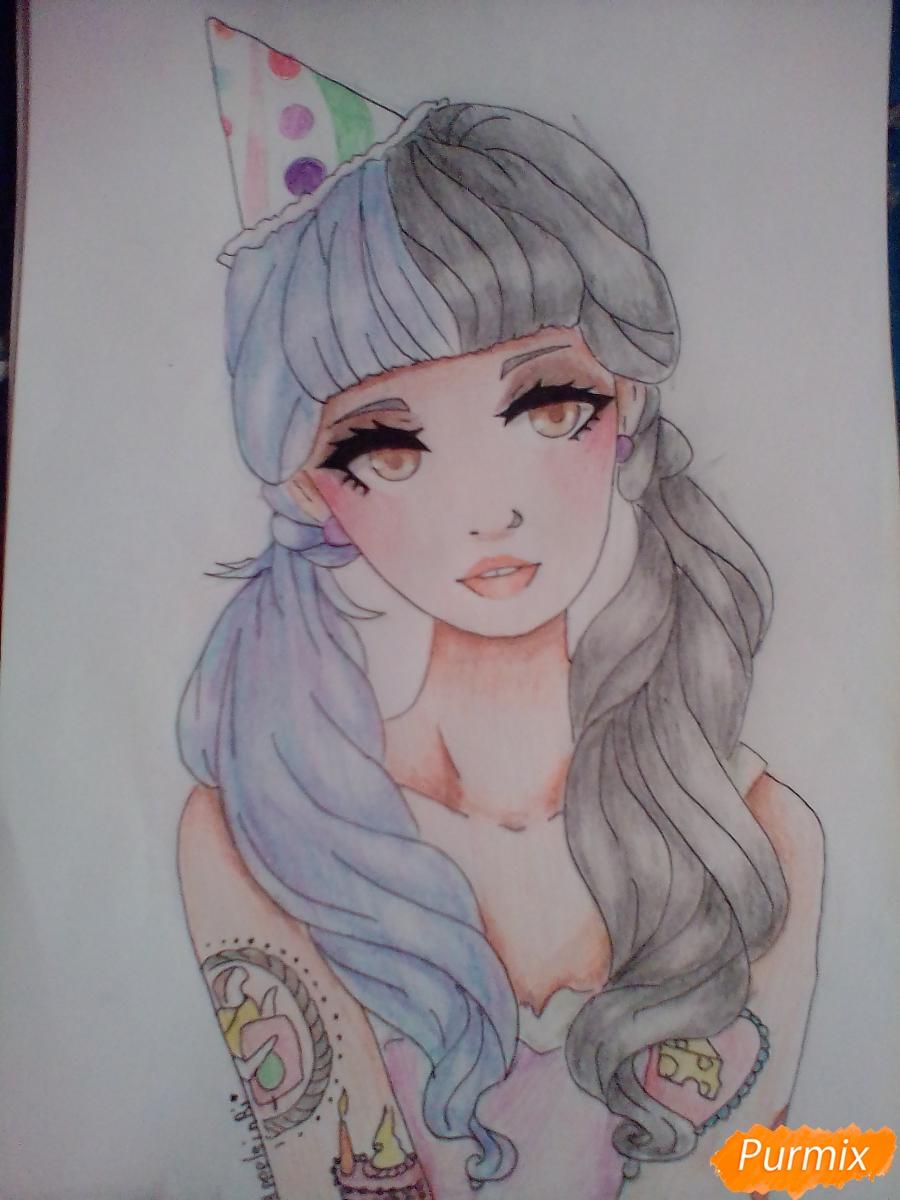 Рисуем портрет певицы Melanie Martinez из клипа Pity Party - шаг 12