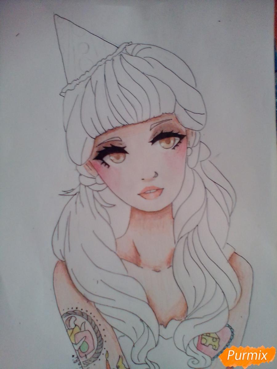 Рисуем портрет певицы Melanie Martinez из клипа Pity Party - шаг 9