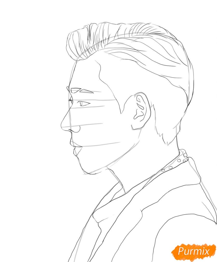Рисуем портрет Зико лидера группы Block B - шаг 4