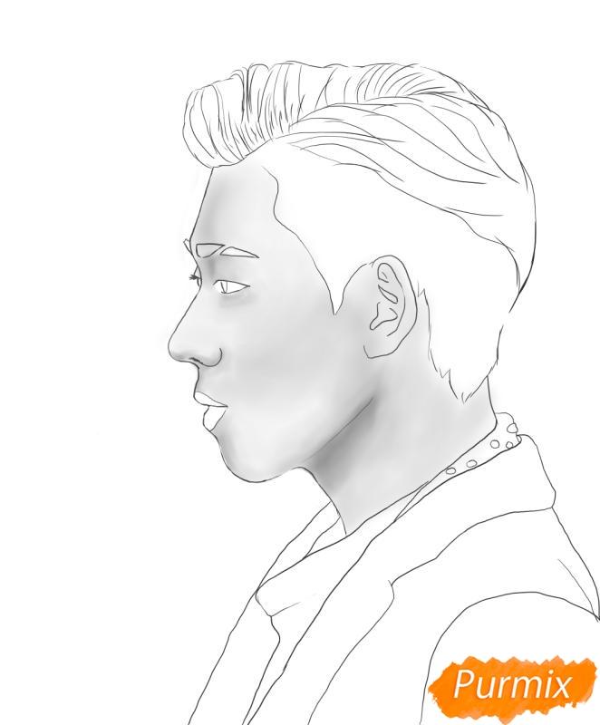 Рисуем портрет Зико лидера группы Block B - шаг 6