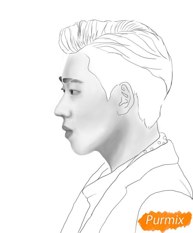 Рисуем портрет Зико лидера группы Block B - шаг 9
