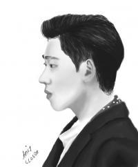портрет Зико из группы Block B карандашом