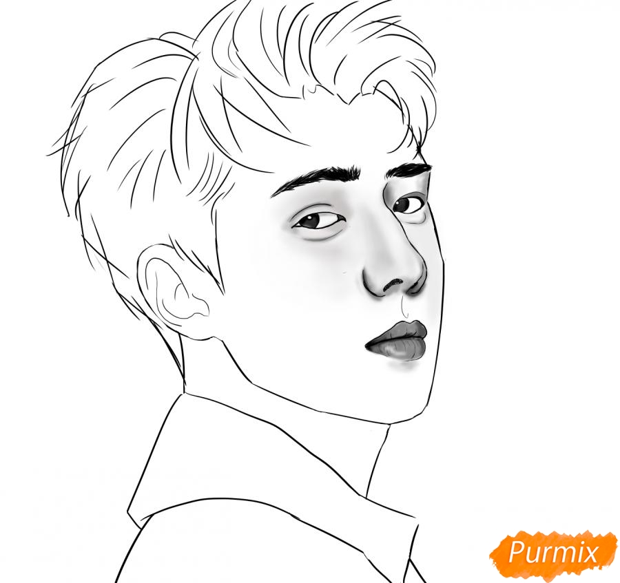 Рисуем портрет О Се Хуна - шаг 10