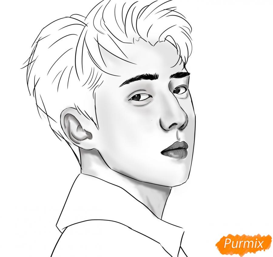 Рисуем портрет О Се Хуна - шаг 11