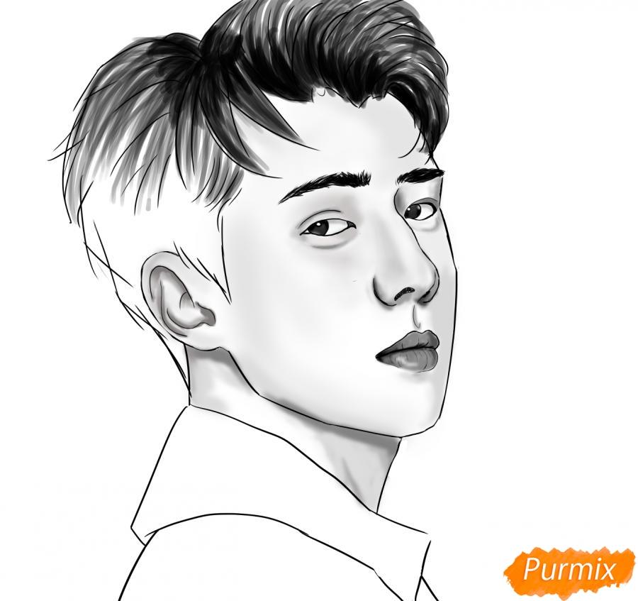 Рисуем портрет О Се Хуна - шаг 12