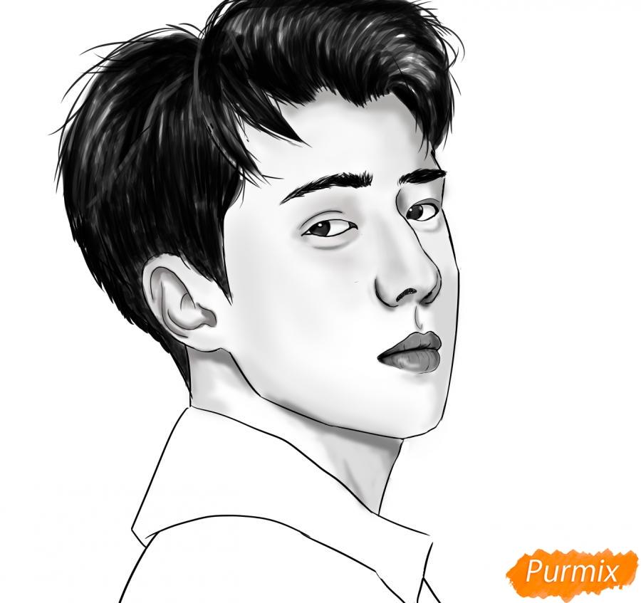 Рисуем портрет О Се Хуна - шаг 15
