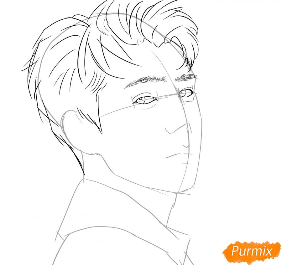 Рисуем портрет О Се Хуна - шаг 4