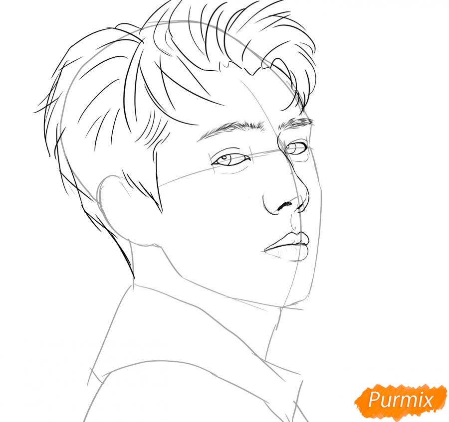Рисуем портрет О Се Хуна - шаг 6