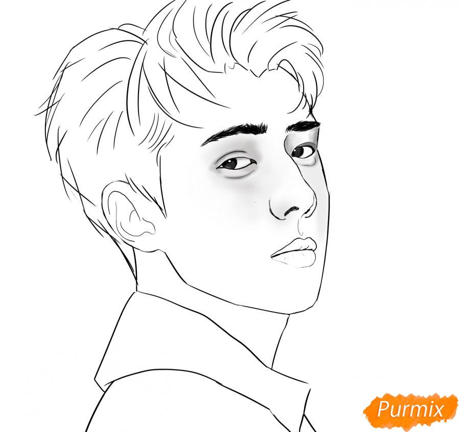 Рисуем портрет О Се Хуна - шаг 8