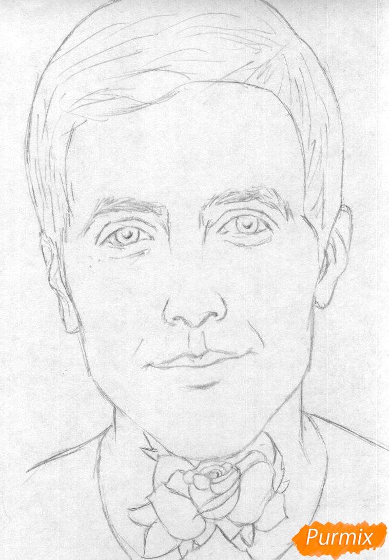 Рисуем портрет Оливера Сайкса карандашами - шаг 1