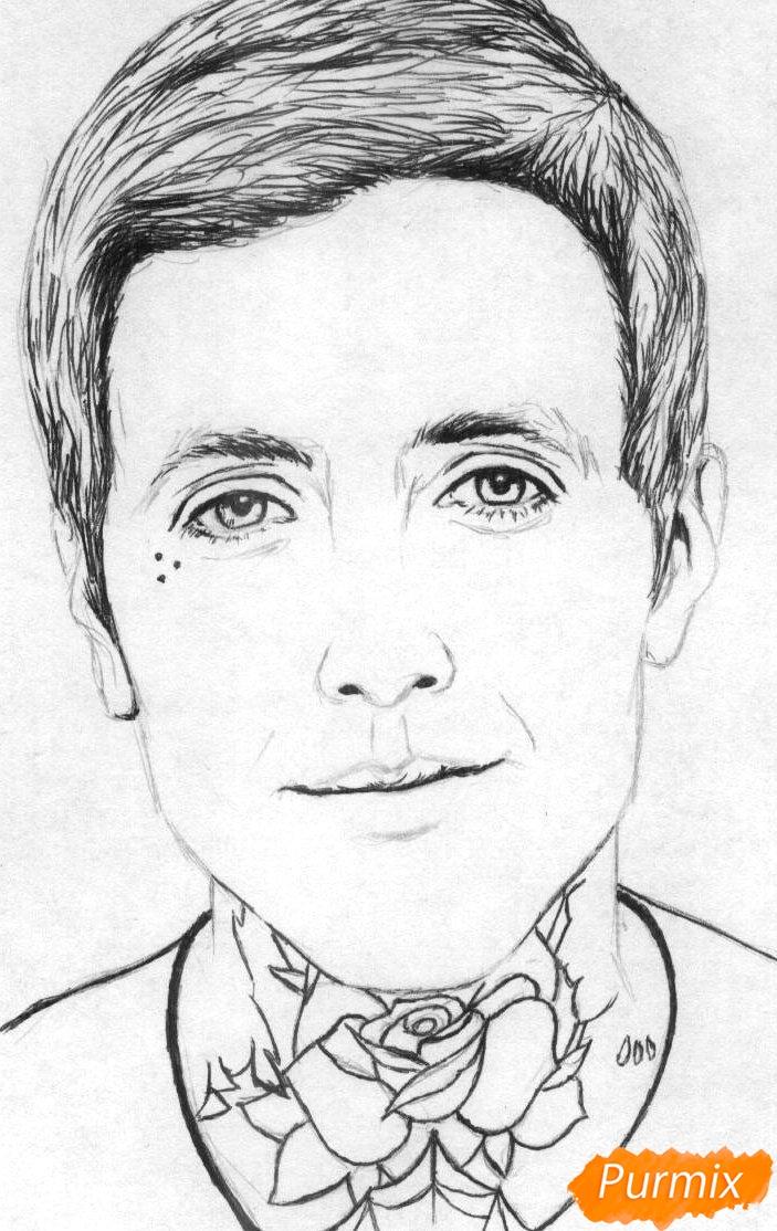 Рисуем портрет Оливера Сайкса карандашами - шаг 2