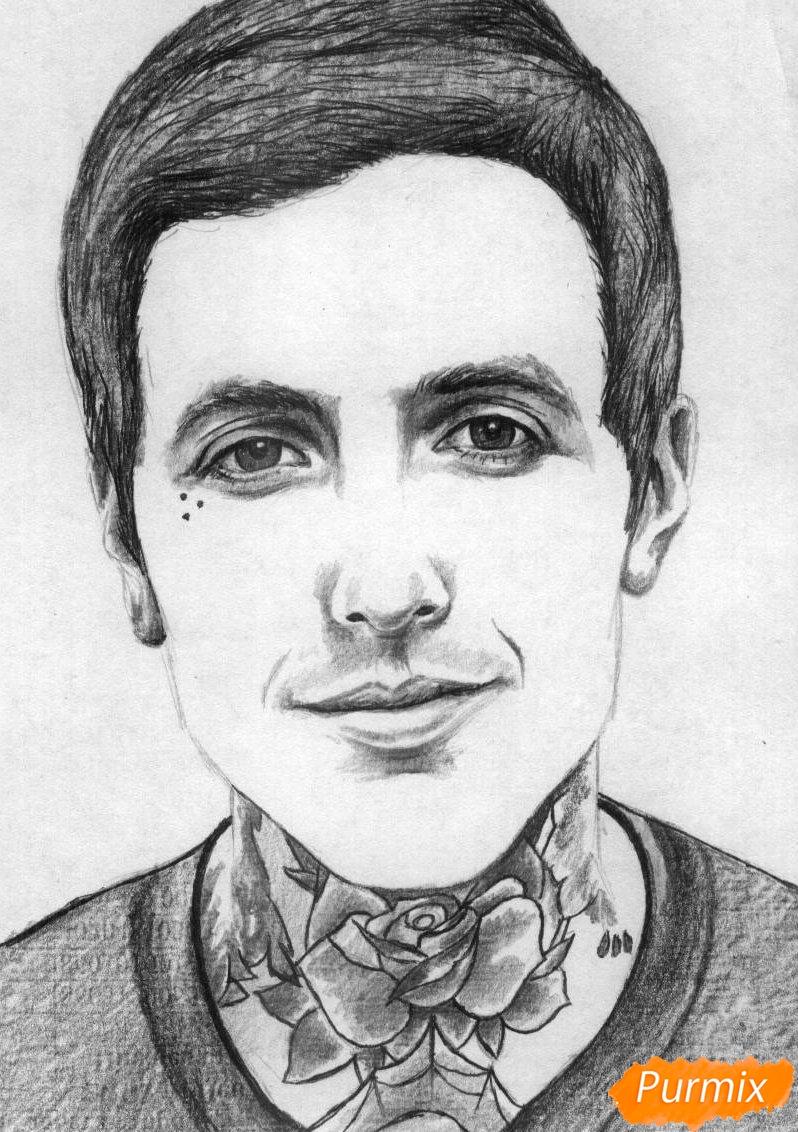 Рисуем портрет Оливера Сайкса карандашами - шаг 3