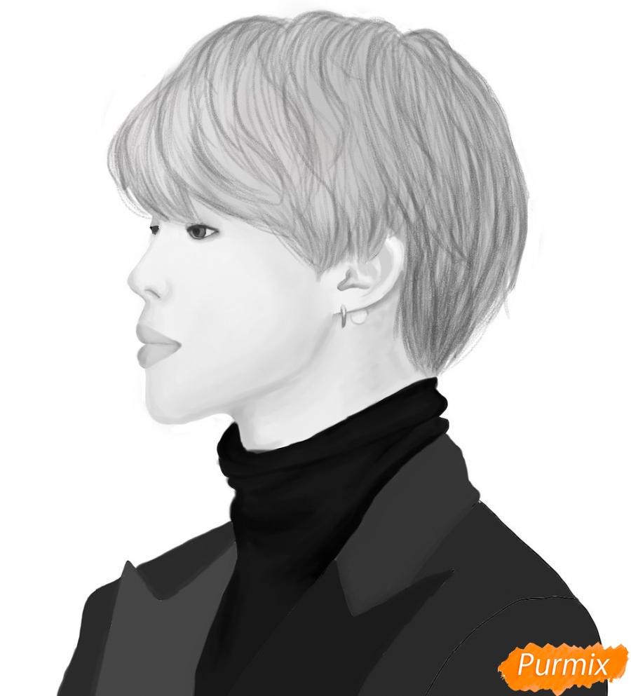 Рисуем портрет Пак Чимина из группы BTS - шаг 12