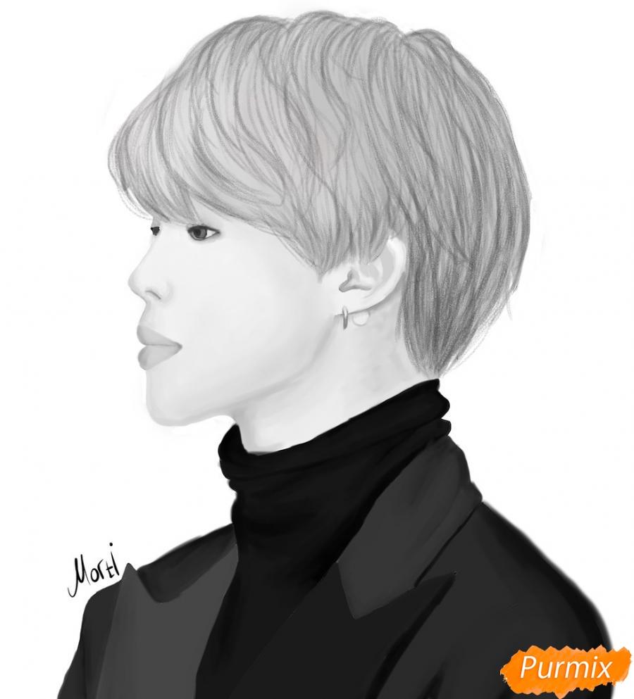 Рисуем портрет Пак Чимина из группы BTS - шаг 13