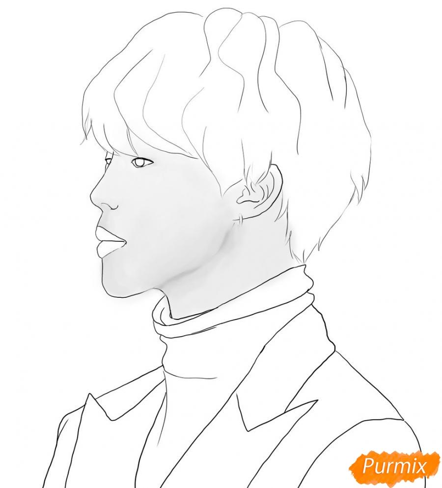 Рисуем портрет Пак Чимина из группы BTS - шаг 6