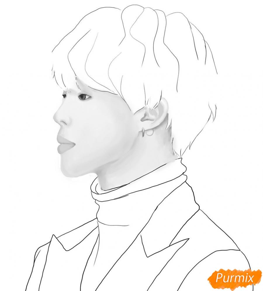 Рисуем портрет Пак Чимина из группы BTS - шаг 7