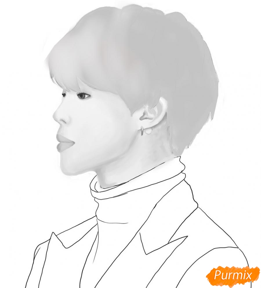 Рисуем портрет Пак Чимина из группы BTS - шаг 8