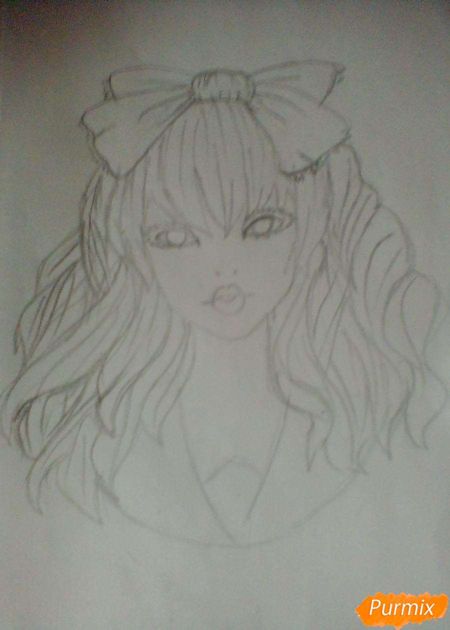Рисуем портрет певицы Melanie Martinez из клипа Dollhouse - шаг 5
