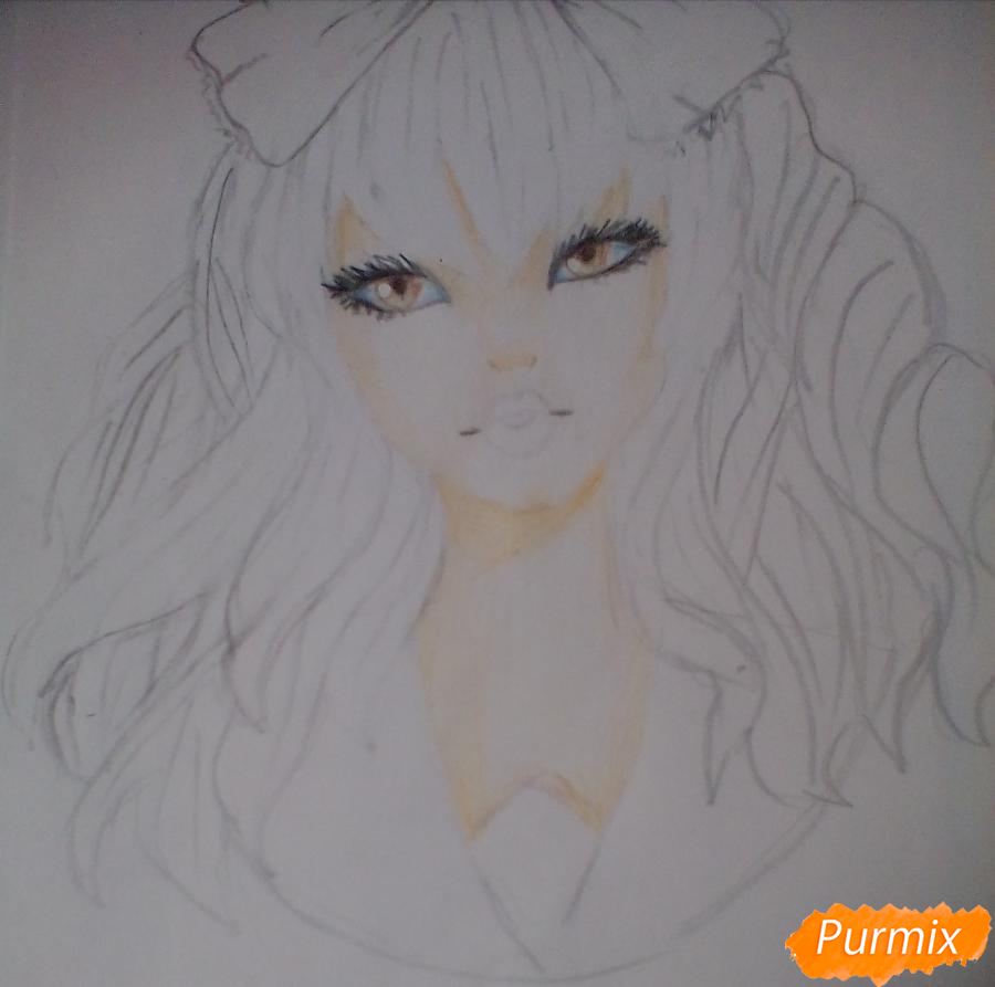 Рисуем портрет певицы Melanie Martinez из клипа Dollhouse - шаг 7