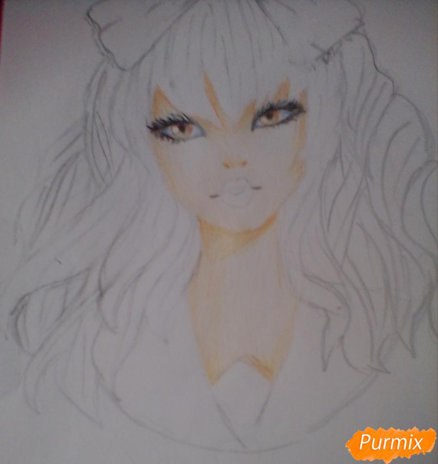 Рисуем портрет певицы Melanie Martinez из клипа Dollhouse - шаг 8