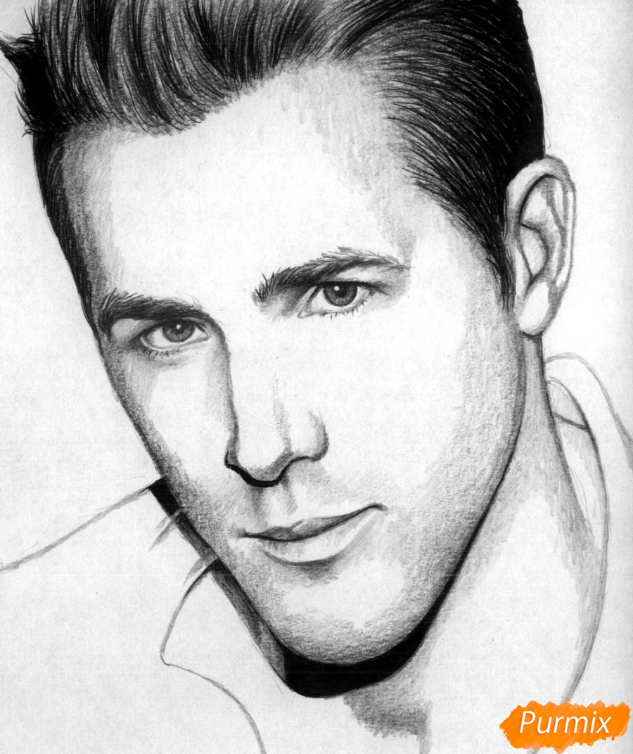 Рисуем портрет Райан Рейнольдс - шаг 4